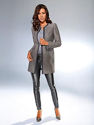 Veste blazer longue motif jacquard, zip double sens