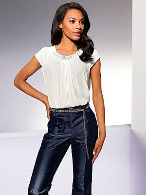 Tunique blouse longue en voile, col en strass élégant