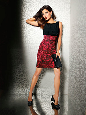 Robe de cocktail glamour sans manches en tissu Jacquard