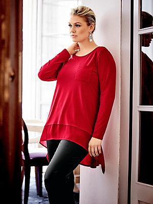 T-shirt manches longues en voile uni, coupe asymétrique