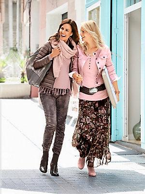 Veste en jean courte rose sans col, fermeture boutons