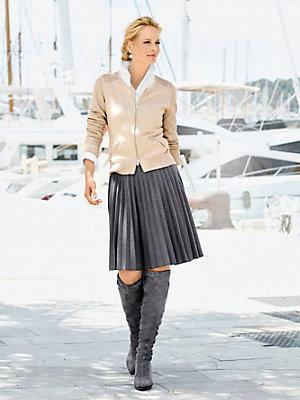 Gilet court élégant en tricot fin avec manches ajourées