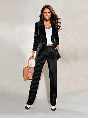 Pantalon élégant femme, coupe ample à fines rayures