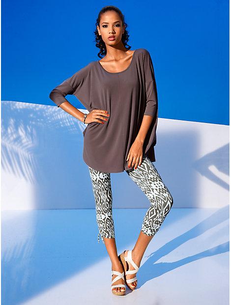 T-shirt femme ample à manches chauve-souris et col rond