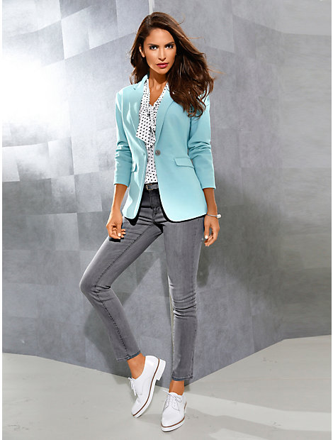 Blazer en jersey femme, forme ajustée, poches à rabat