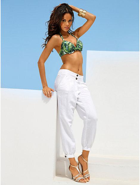 Pantalon 7/8e taille haute smockée, forme ample