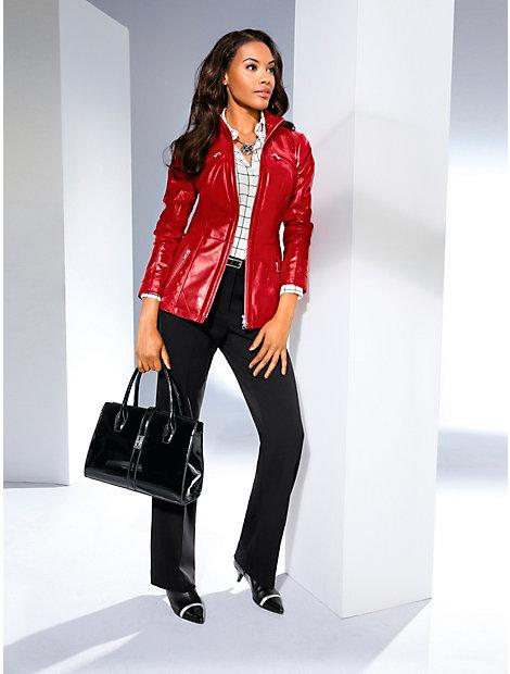 Veste en cuir élégante cintrée femme à zip double sens
