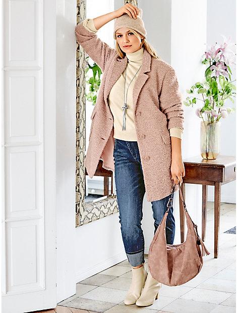Manteau oversize en maille bouclée rose poudre