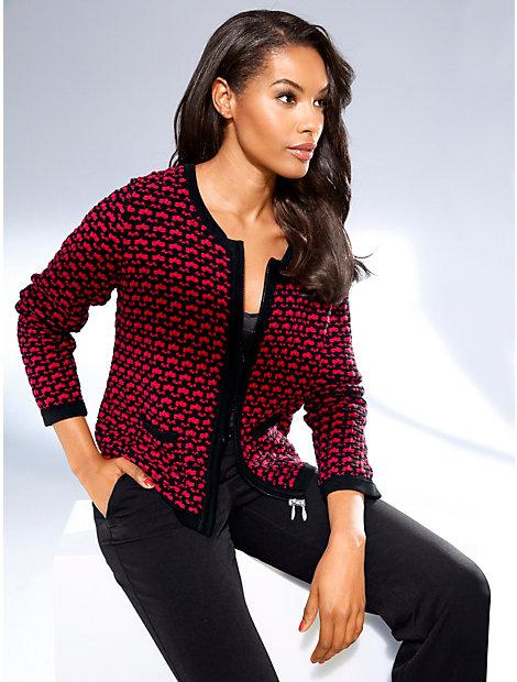 Gilet court en tricot imprimé très élégant, zip double