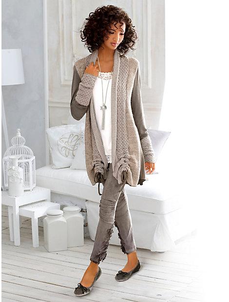 Gilet long en tricot style patchwork, longueur réglable