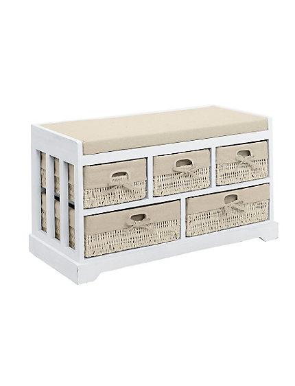 banc coffre de rangement paniers en rotin et tissu helline. Black Bedroom Furniture Sets. Home Design Ideas