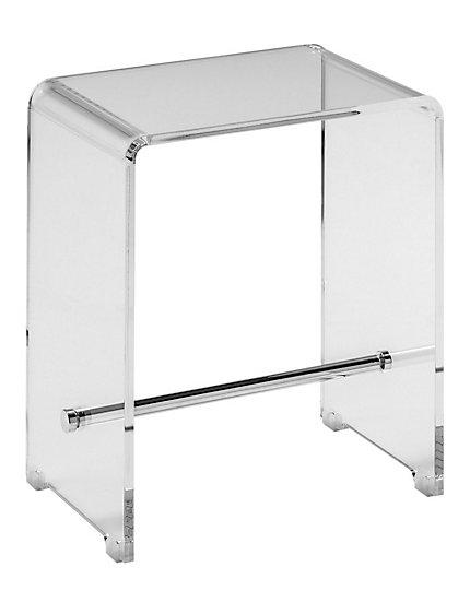 Tabouret design de salle de bain, transparent et inox   helline