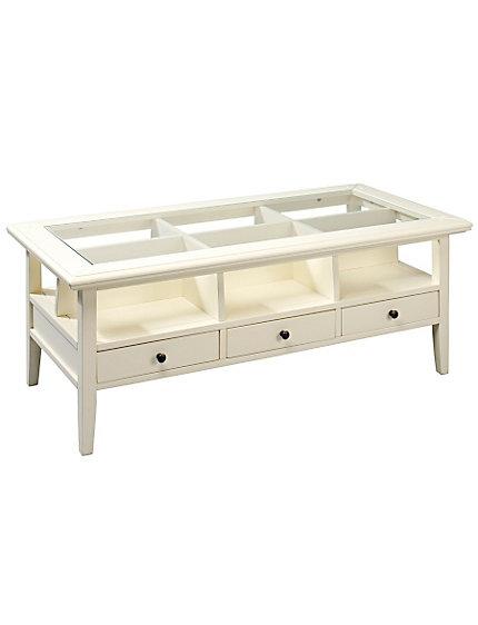 Table basse tiroirs et casiers plateau en verre helline for Table basse grand format