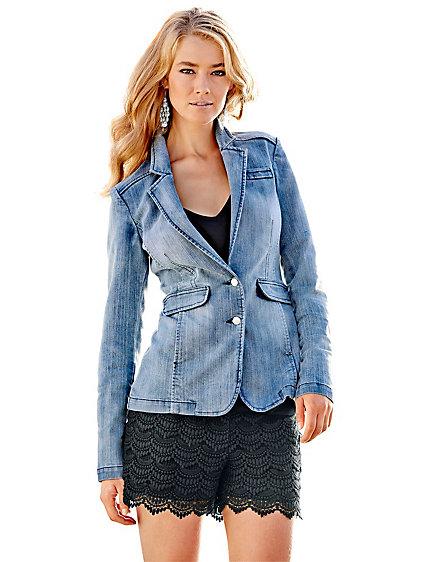 veste blazer en jean femme ajust fermeture 2 boutons helline. Black Bedroom Furniture Sets. Home Design Ideas