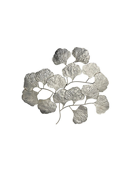 D coration murale en m tal brillant feuille de gingko for Decoration murale feuille metal
