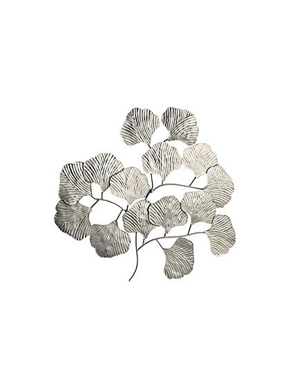 D coration murale en m tal brillant feuille de gingko for Decoration murale ginkgo