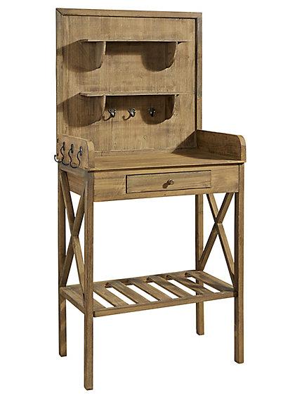 Table de jardinage trait en bois pat res et tiroir - Table de jardinage en hauteur ...