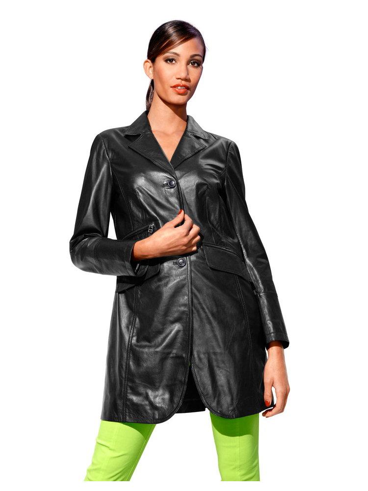 veste en cuir femme longue cintr e effet amincissant helline. Black Bedroom Furniture Sets. Home Design Ideas
