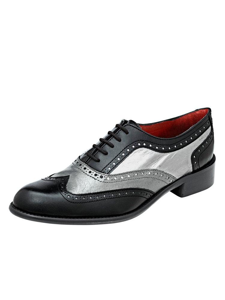 chaussures derbies femme en cuir souple noir et argent helline. Black Bedroom Furniture Sets. Home Design Ideas