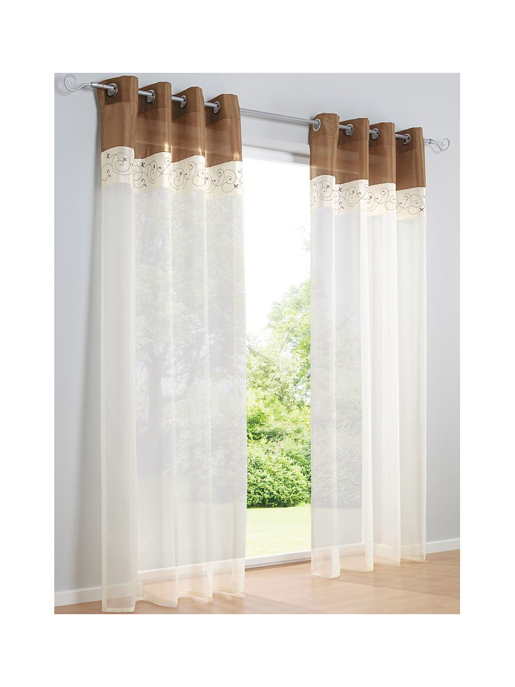 Rideau en voile blanc bordure color e et broderie helline for Helline decoration rideaux