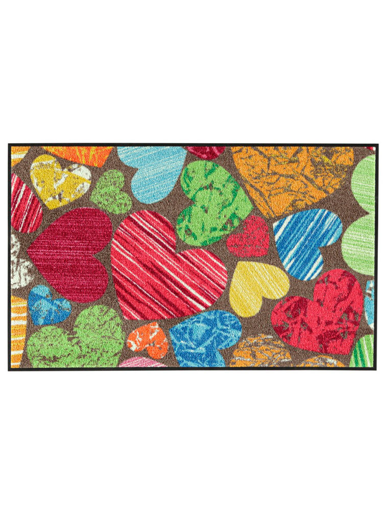 Tapis d 39 entr e en nylon imprim coeur original for Tapis cuisine wash and dry