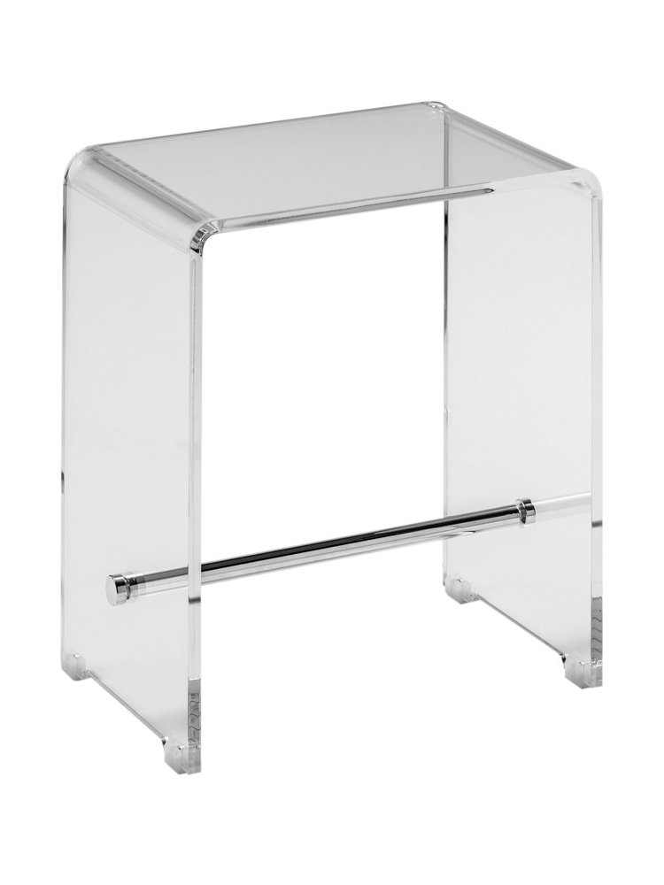 tabouret design de salle de bain transparent et inox. Black Bedroom Furniture Sets. Home Design Ideas