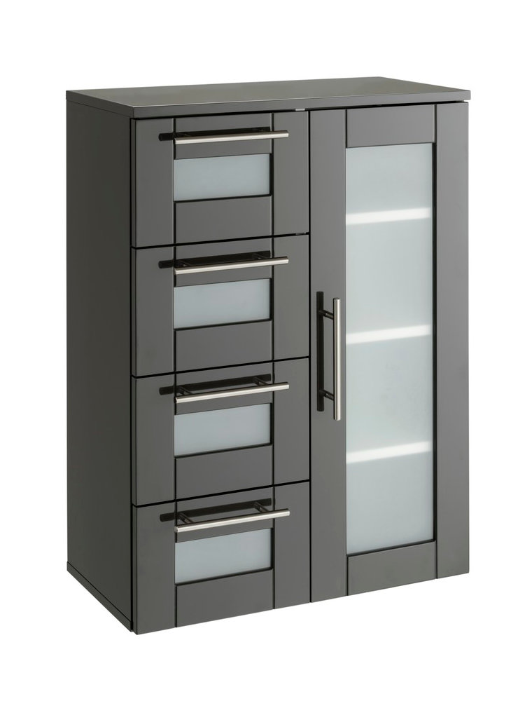 armoire de salle de bain rangement 1 porte et 4 tiroirs. Black Bedroom Furniture Sets. Home Design Ideas
