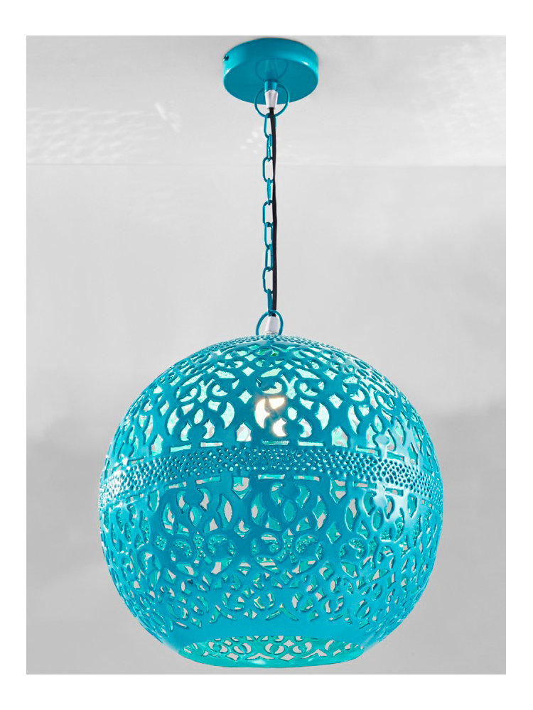 Suspension luminaire boule en m tal bleu turquoise helline for Suspension bleu
