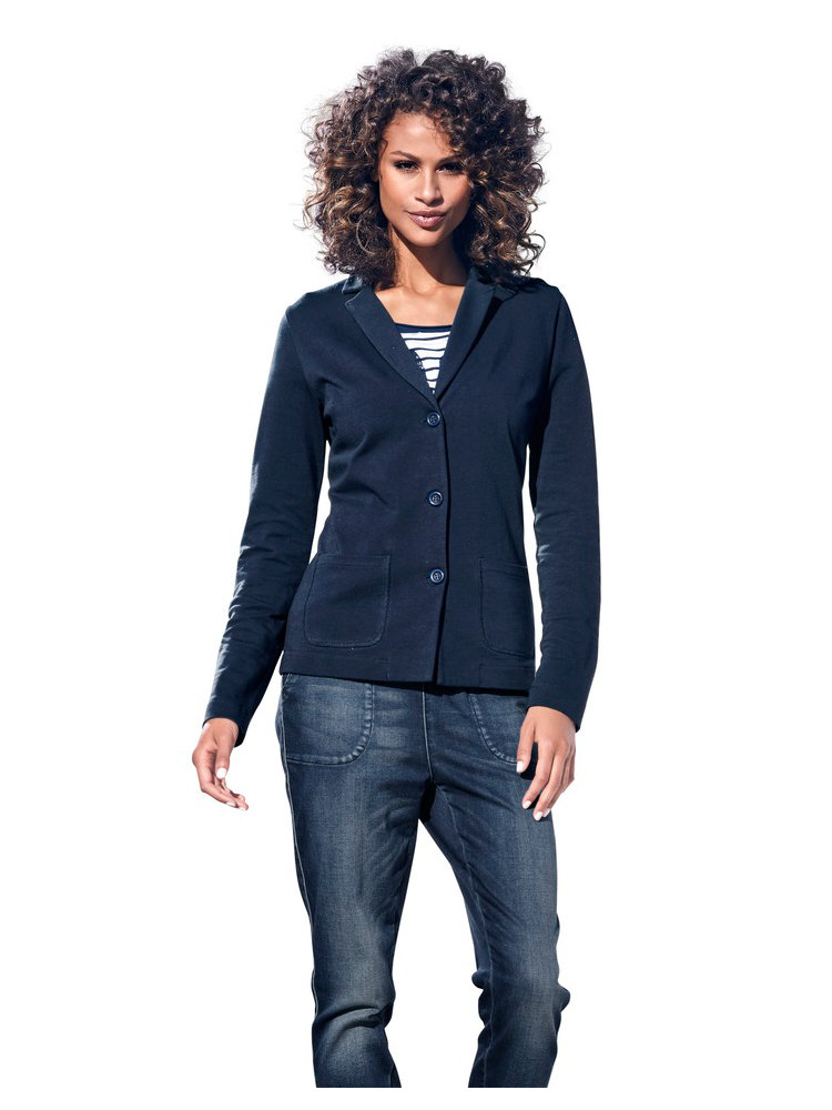blazer femme en sweat bleu marine col tailleur helline. Black Bedroom Furniture Sets. Home Design Ideas
