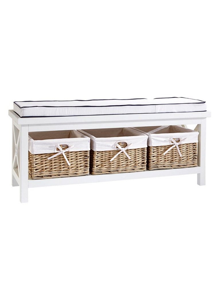 banc de rangement en bois blanc 3 paniers en osier helline. Black Bedroom Furniture Sets. Home Design Ideas