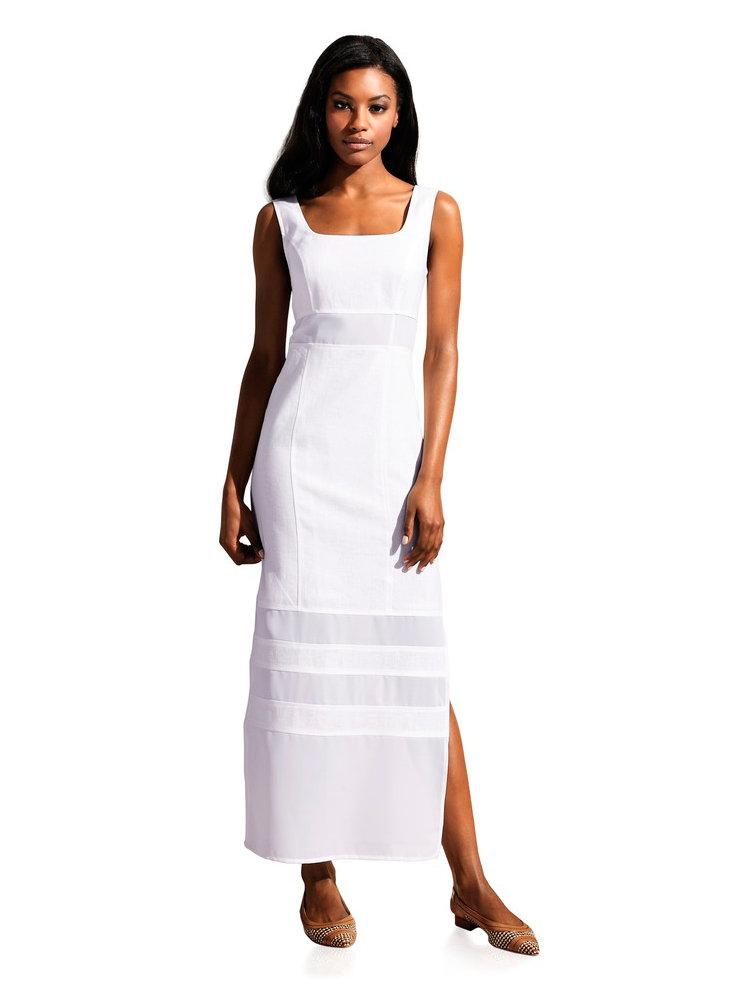 robe longue blanche en lin empi cements transparents. Black Bedroom Furniture Sets. Home Design Ideas