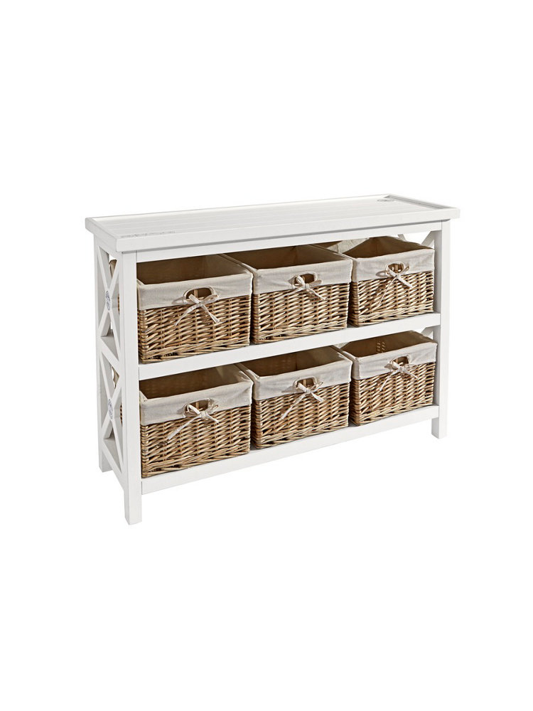 banc de rangement en bois blanc 6 paniers en osier helline. Black Bedroom Furniture Sets. Home Design Ideas