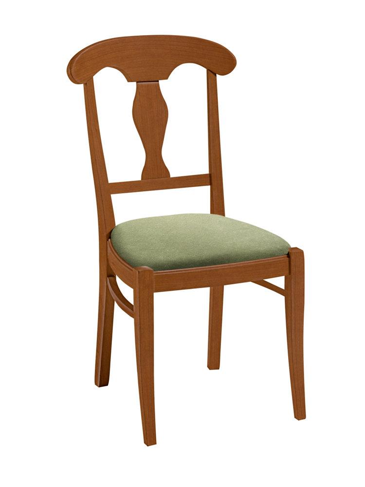 Chaise en bois assise rembourr e rev tement tissu helline - Chaise bois tissu ...