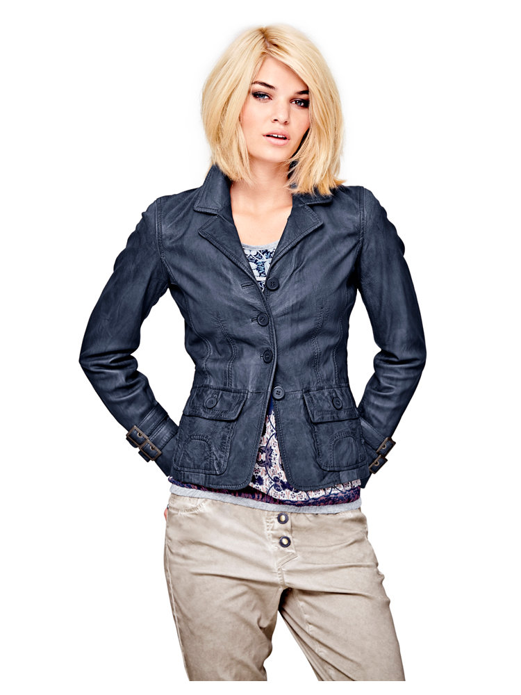 veste courte en cuir pour femme col tailleur helline. Black Bedroom Furniture Sets. Home Design Ideas