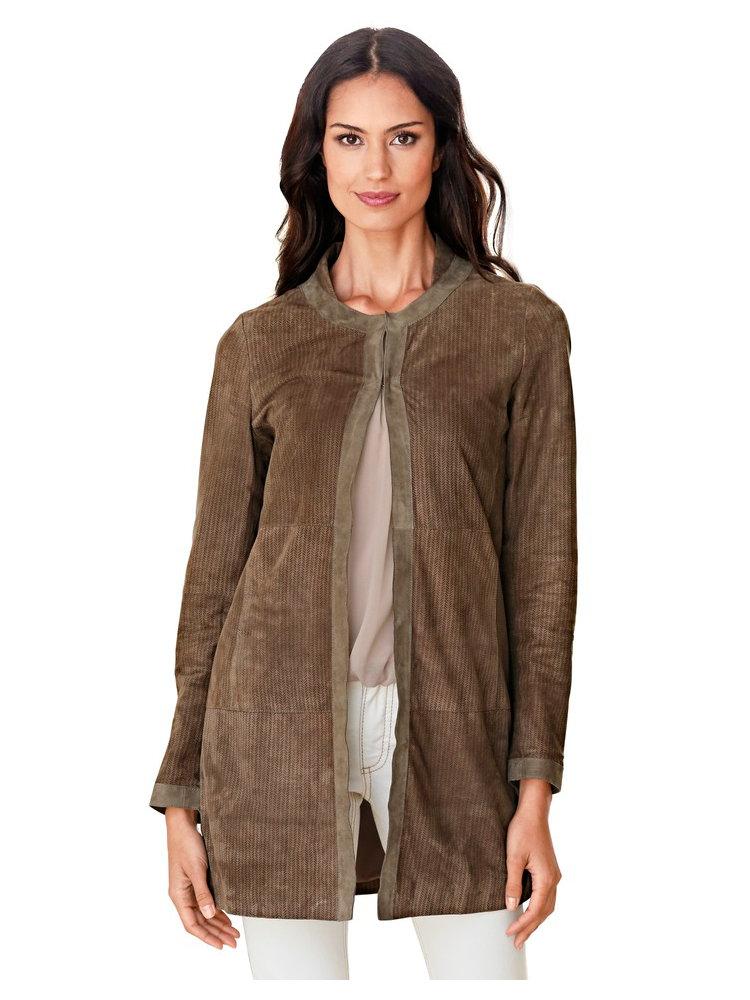 manteau pour femme marron en cuir velours c tel helline. Black Bedroom Furniture Sets. Home Design Ideas