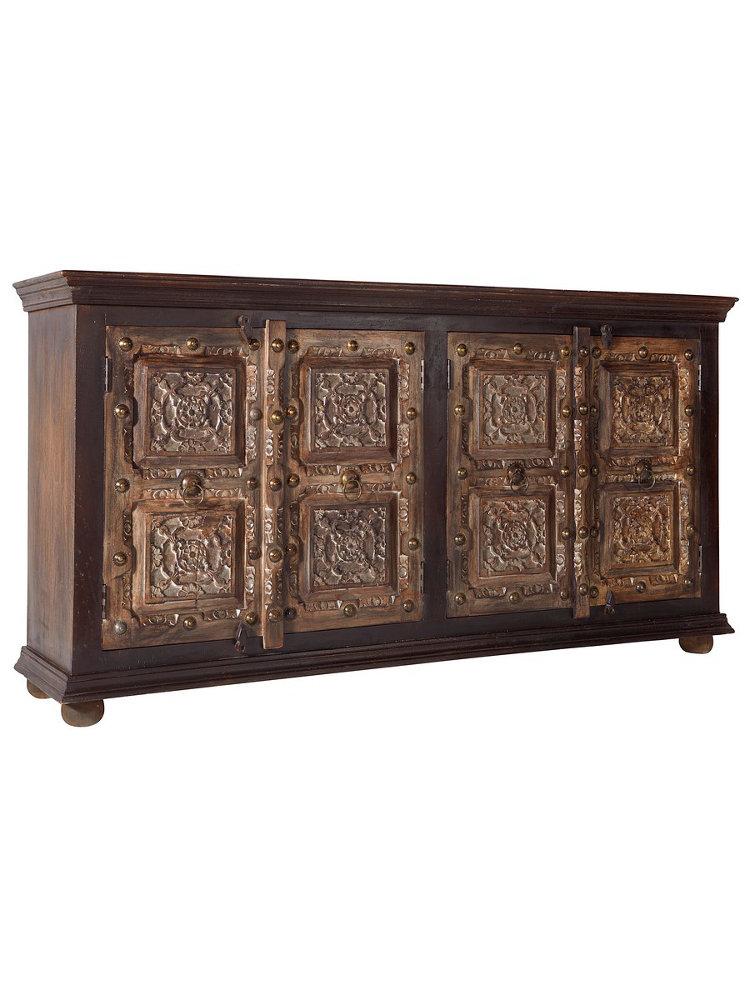 bahut en bois sculpt artisanal unique 4 portes helline. Black Bedroom Furniture Sets. Home Design Ideas