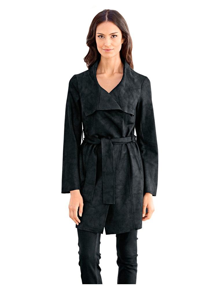 manteau long femme ceintur en simili cuir velours helline. Black Bedroom Furniture Sets. Home Design Ideas