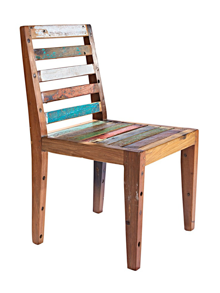 Chaise en bois patin color artisanal unique helline for Chaise en tissu colore