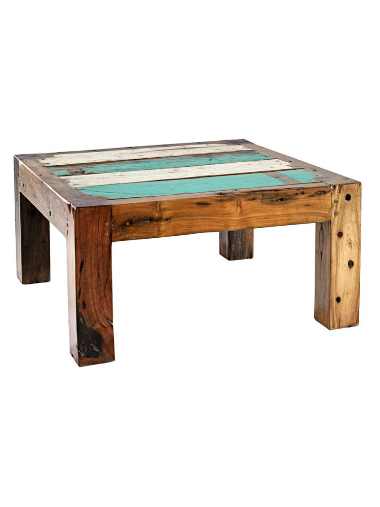 Table basse carr e en bois recycl plateau color helline - Table basse colore ...
