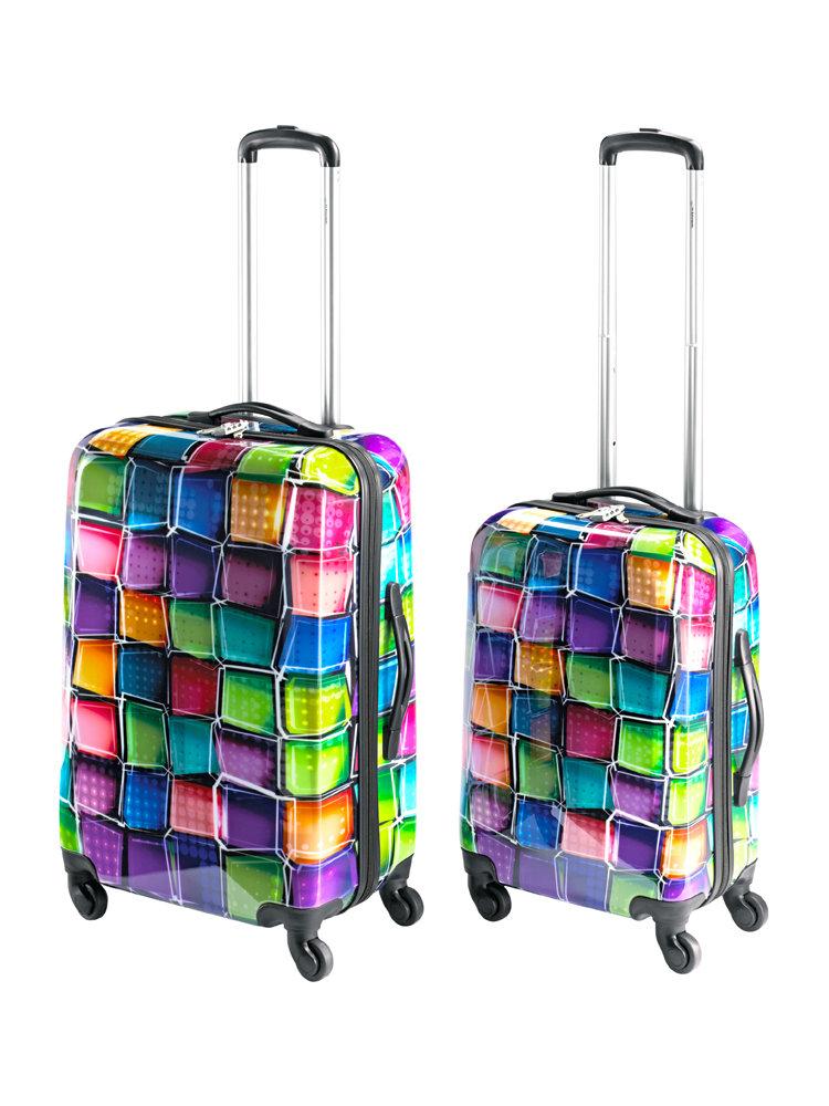 lot de valises rigides roulettes imprim multicolore. Black Bedroom Furniture Sets. Home Design Ideas