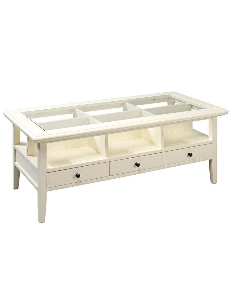 Table basse tiroirs et casiers plateau en verre helline - Table basse plateau verre ...