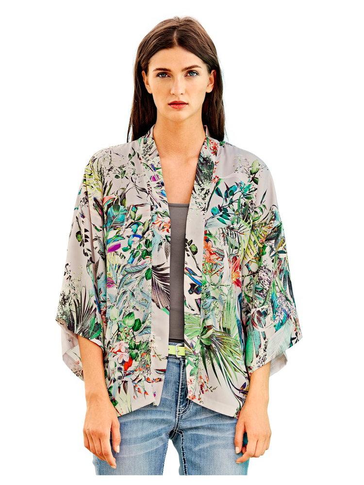 veste femme style kimono imprim tropical helline. Black Bedroom Furniture Sets. Home Design Ideas