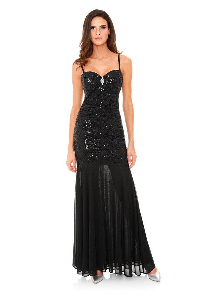 robe de soir e longue paillettes bretelles amovibles helline. Black Bedroom Furniture Sets. Home Design Ideas