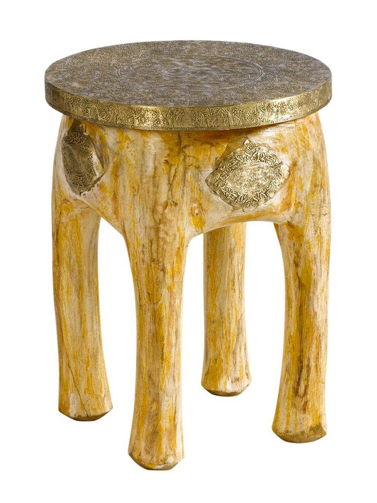 Table bout de canap en bois massif et m tal cisel helline for Canape en bois massif