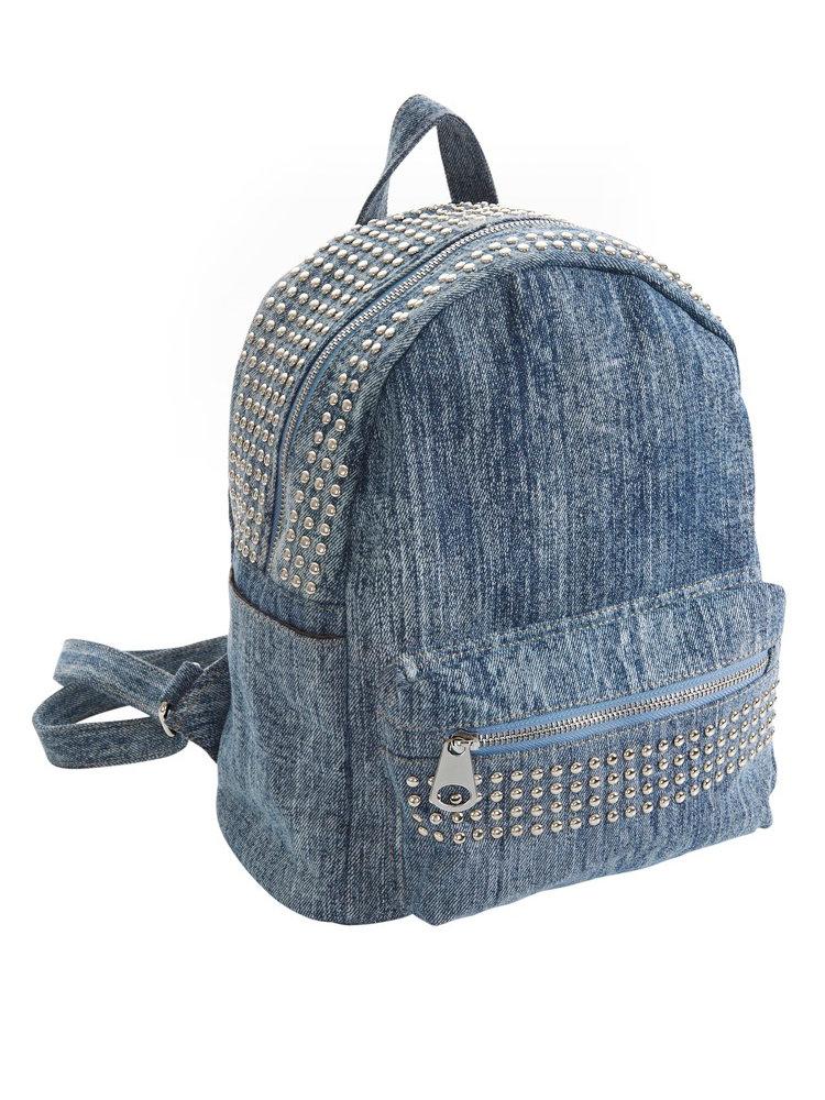 sac dos femme en jean avec rivets poche l 39 avant helline. Black Bedroom Furniture Sets. Home Design Ideas