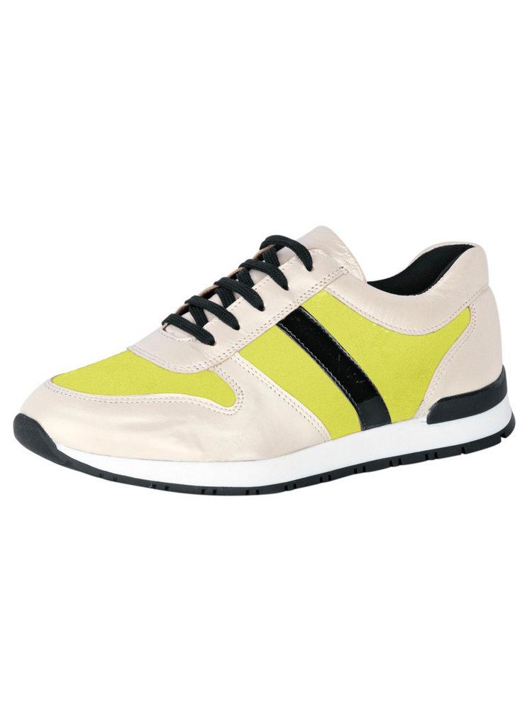 baskets femme en cuir blanc  jaune et noir   u00e0 lacets