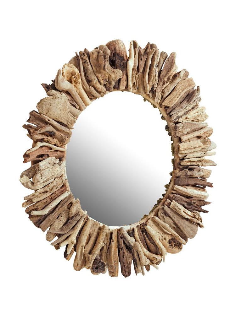 Grand miroir mural rond avec cadre en bois flott helline for Grand miroir mural rond