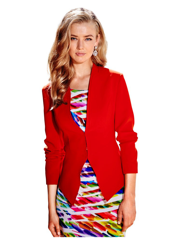 blazer femme corail ajust et court sans col helline. Black Bedroom Furniture Sets. Home Design Ideas