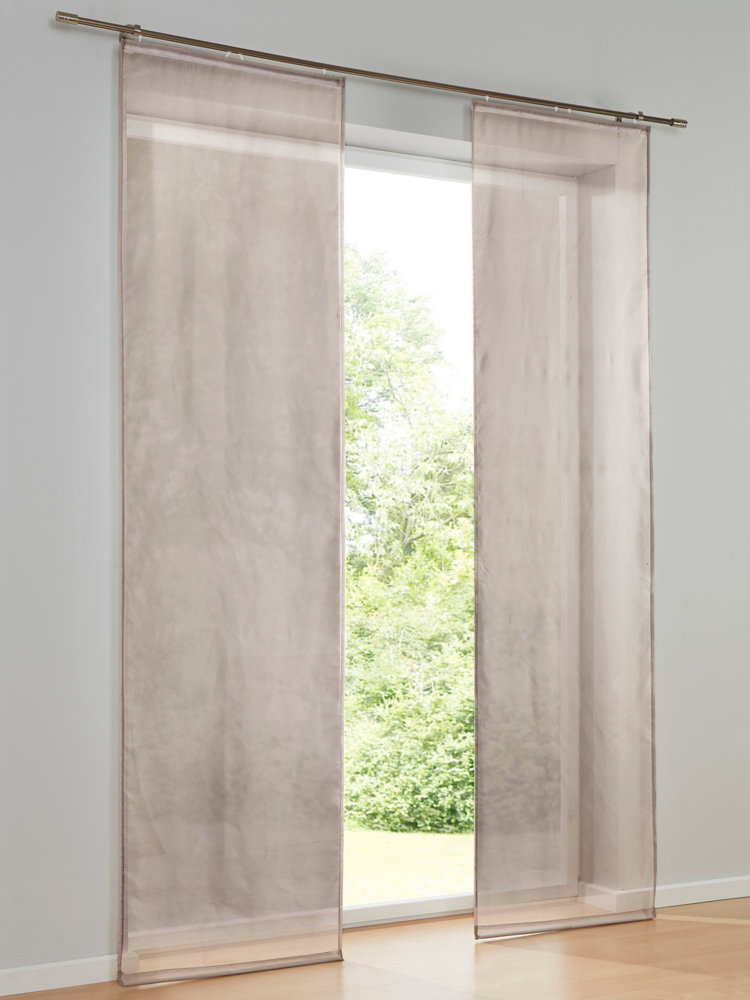 rideau coulissant en tissu semi transparent imprim helline. Black Bedroom Furniture Sets. Home Design Ideas