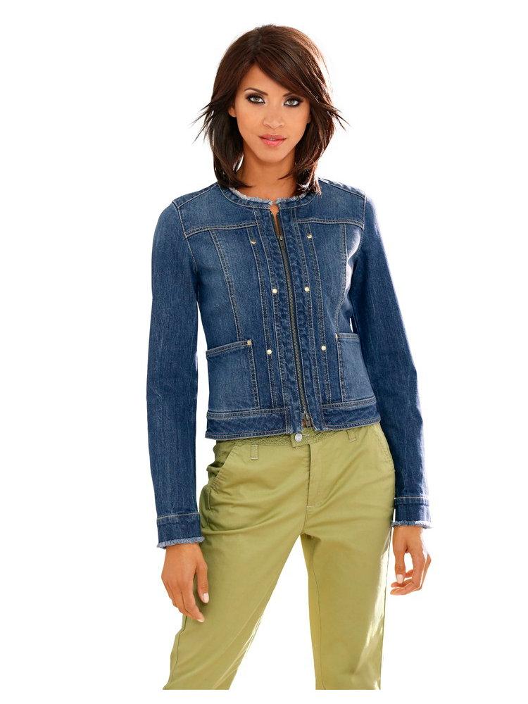 veste en jean originale avec col rond effet d chir helline. Black Bedroom Furniture Sets. Home Design Ideas